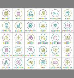 collection of money operations colorful banner vector image