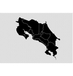 costa rica map - high detailed black map with vector image