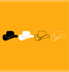 cowboy hat it is white icon vector image