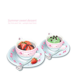 Cupcake and chocolate strawberry mousse in vector
