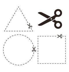 cut line with scissors cut here symbol vector image