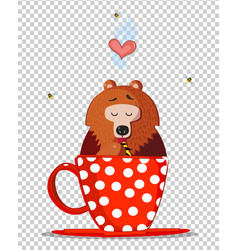 cute cartoon teddy bear character sit in red cup vector image