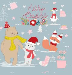 cute merry christmas animal cartoon card vector image