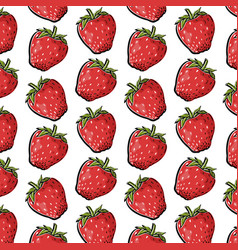Cute summer pattern with strawberries vector
