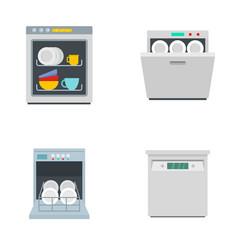 Dishwasher machine kitchen icons set flat style vector