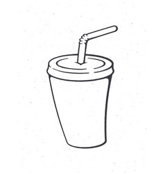 Disposable paper cup with soda and straw outline vector