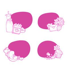 doodle wedding elements stickers set vector image