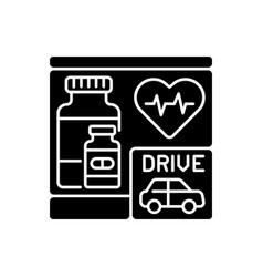 Drive through pharmacy black glyph icon vector