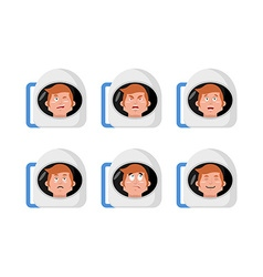 Emotions astronaut Set expressions avatar spaceman vector image