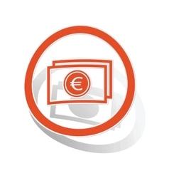 Euro banknote sign sticker orange vector