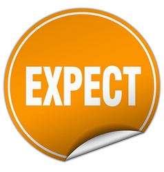 Expect round orange sticker isolated on white vector