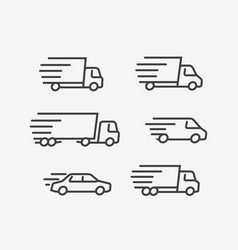 fast delivery truck icon set transport vector image