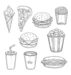 Fast food sandwiches drink and dessert sketch vector
