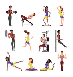 fitness people cartoon characters set male vector image