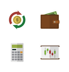 flat exchequer set of billfold calculate vector image vector image