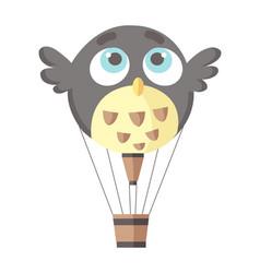 flat hot air-balloon owl bird vector image