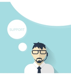 Flat support background with male icon Service vector