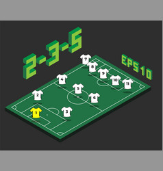 Football 2-3-5 formation with isometric field vector