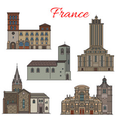 French architecture travel landmark thin line icon vector