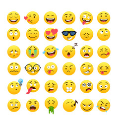 funny yellow round emoji icons set vector image