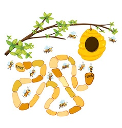 Game template with bees and beehive background vector image