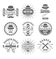 gentleman barber shop monochrome emblems vector image