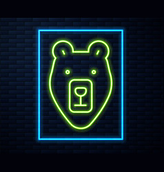 glowing neon line bear head icon isolated on brick vector image