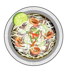 Green Papaya Salad with Salted Fish and Crabs vector