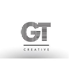 Gt g t black and white lines letter logo design vector