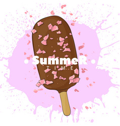 Ice cream in chocolate on a stick vector