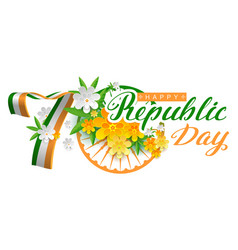india happy republic day 70 years lettering text vector image