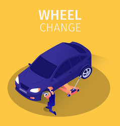 Isometric banner wheel change service in garage vector
