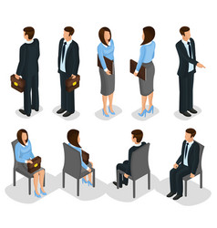 Isometric business people set vector