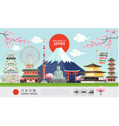 japan famous landmarks travel banner vector image