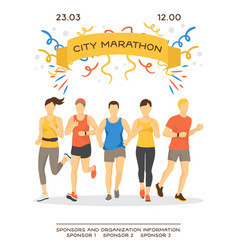 maraphon running people sport vector image