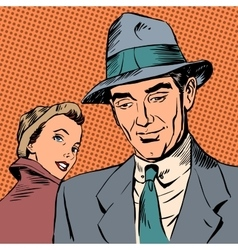 Meeting woman glanced man style art pop retro vector