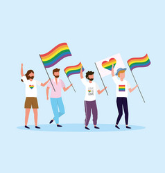 men with rainbow and heart flag to lgbt freedom vector image