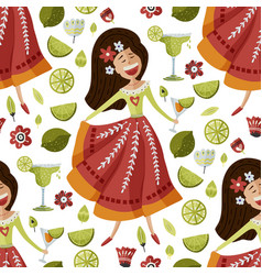 Mexican girl seamless pattern vector
