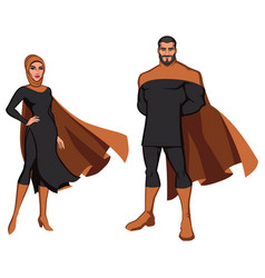 Middle eastern superhero couple on white vector