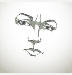 Monochrome hand-drawn portrait of white-skin vector