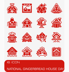 National gingerbread house day icon set vector