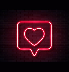 Neon red glowing heart in spech bubble banner on vector