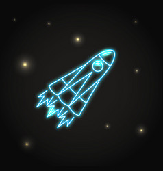 Neon rocket icon in line style vector