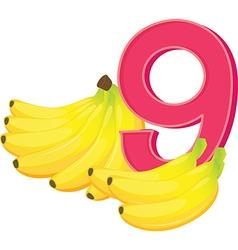 Nine ripe bananas vector