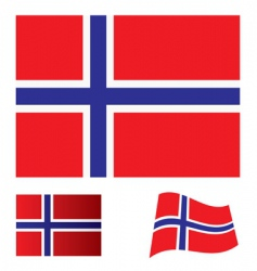 Norway flag set vector image