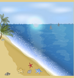 ocean or sea beach with palms vector image
