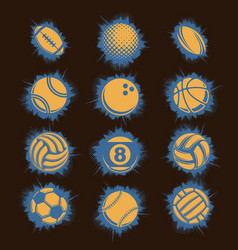 orange sport balls grunge vector image