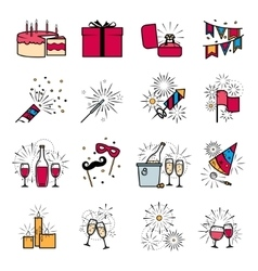 Party celebration fireworks ehgagement icons set vector