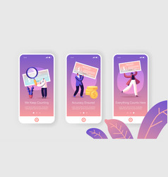 Paycheck cash mobile app page onboard screen set vector
