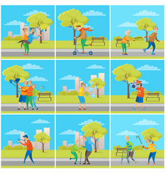 pensioners having fun in city senior people town vector image